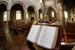 An open book of verses in a church; staindrop durham england