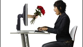 Woman receiving roses online
