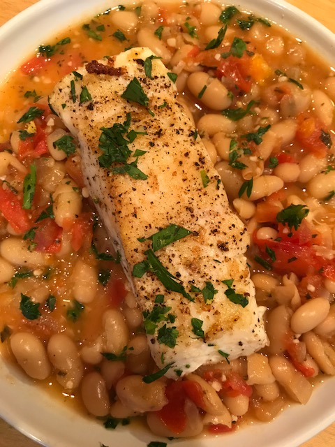 Halibut and white beans