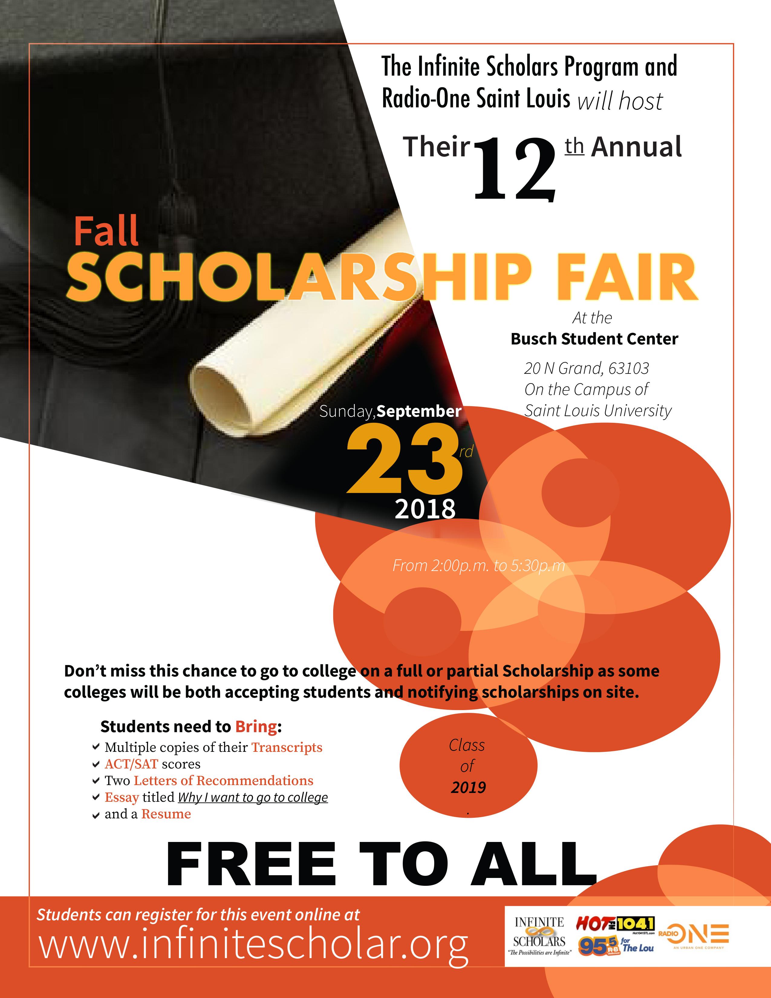 Infinite Scholars Fall Scholarship Fair 2018