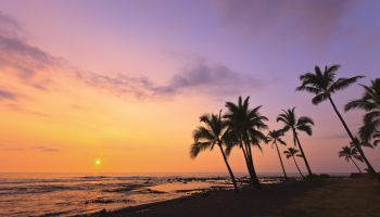 Sunset on Kahaluu Bay in Kona,Hawaii