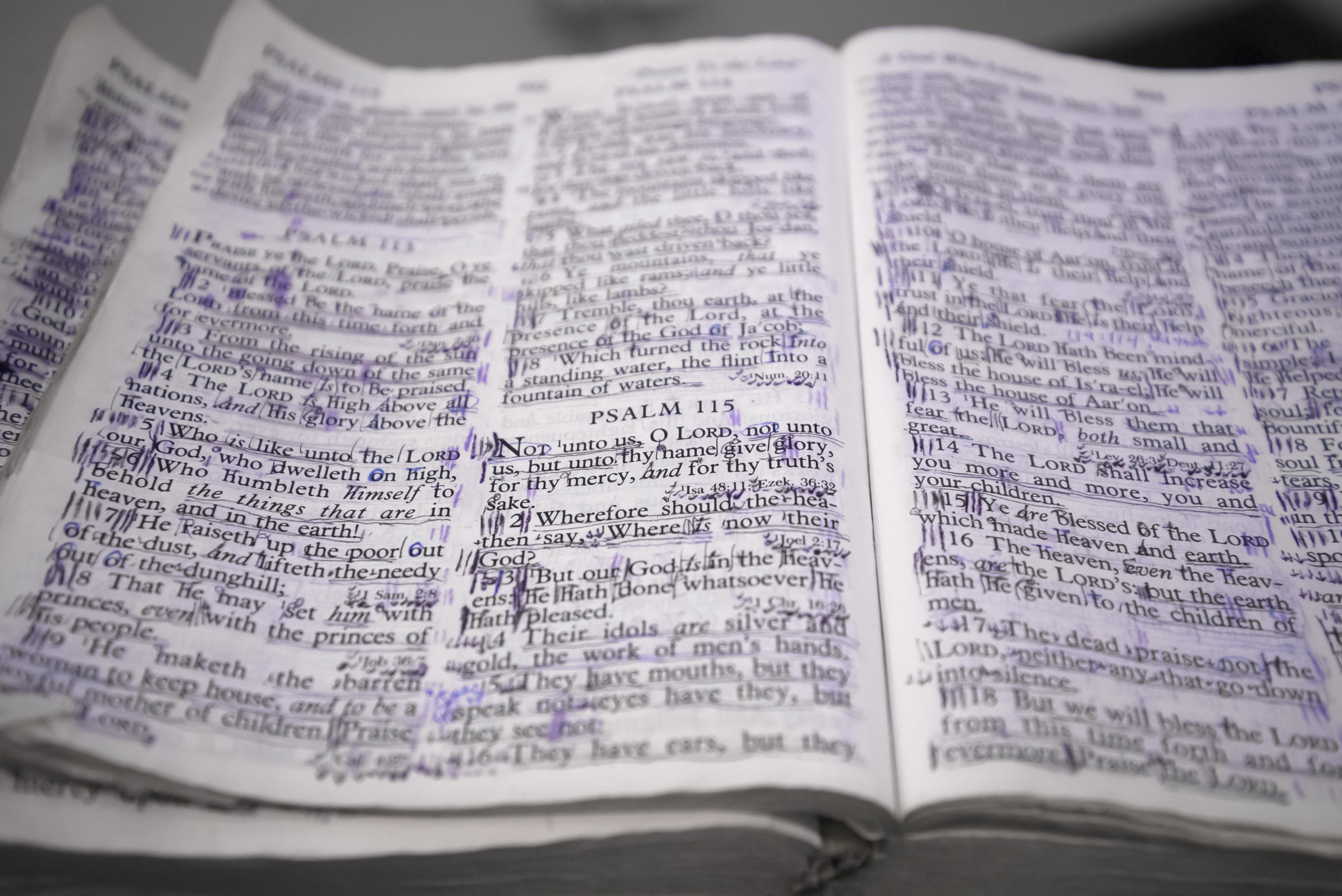 Closeup of a well used Bible