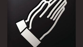 Black Square Button with Prayer Icon