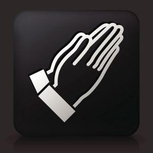 Black Square Button with Prayer Icon