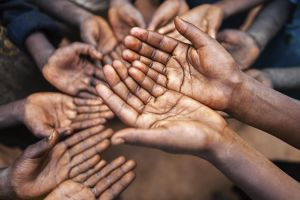 'Hands of poor - asking for help, Africa'