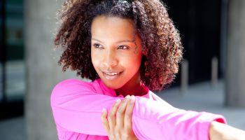 Female runner stretches